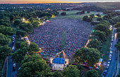 Aerial photo over a large crowd attending a festival in Austin, Texas.