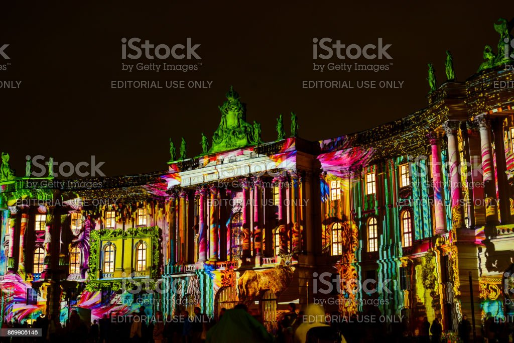 Festival of Lights in Berlin. Faculty of Law of Humboldt University stock photo