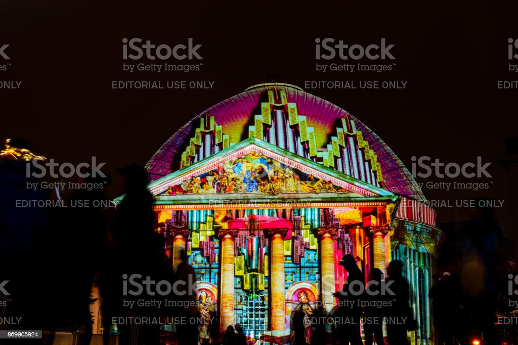 Festival of Lights in Berlin. St. Hedwig's Cathedral on the Bebelplatz stock photo