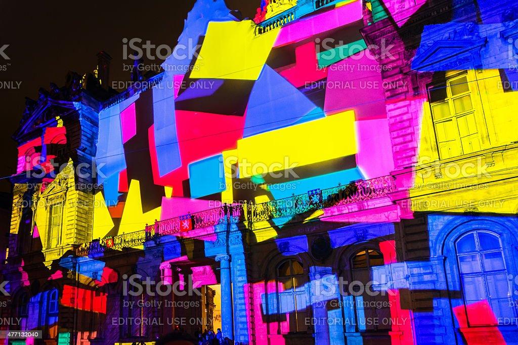 Festival of lights in Lyon stock photo