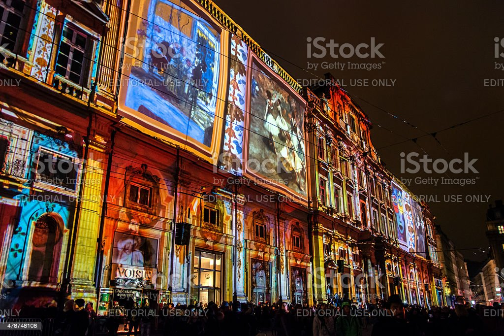 Festival of lights in Lyon stock photo