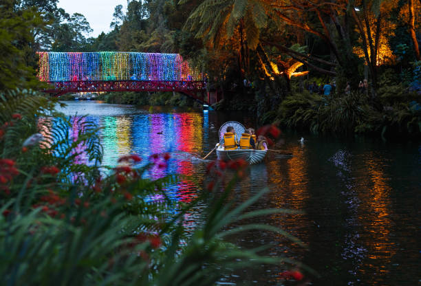 festival of lights in pukekura park, new plymouth, taranaki, neuseeland - neuseeland kunst stock-fotos und bilder