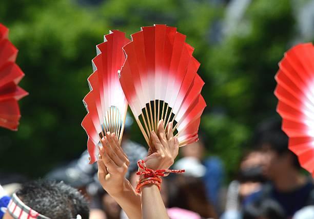 festival - japanischer fächer stock-fotos und bilder
