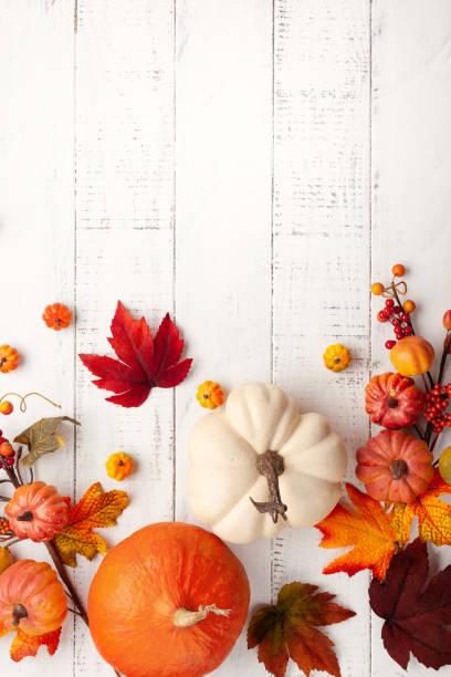 Festliche Herbstdekoration aus Kürbissen, Beeren und Blättern auf weißem Holzhintergrund. Konzept von Thanksgiving Tag oder Halloween. Flach liegen Herbst Komposition mit Kopierraum. – Foto