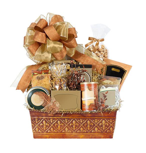 Festive Autumn Gift Basket stock photo