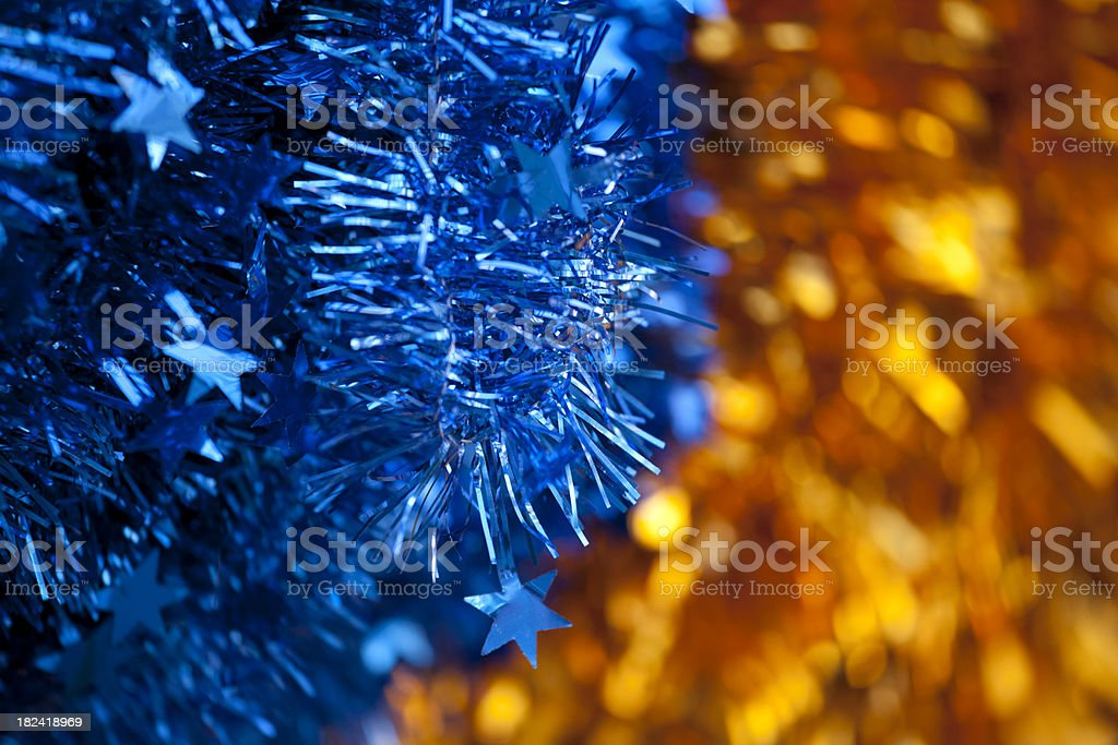 Festive Blue and Gold Holiday Decorations, Background royalty-free stock photo