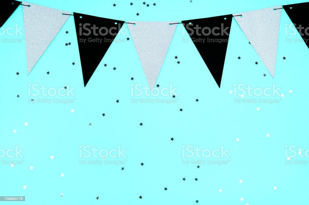 Festive blue pastel background, flat lay stock photo