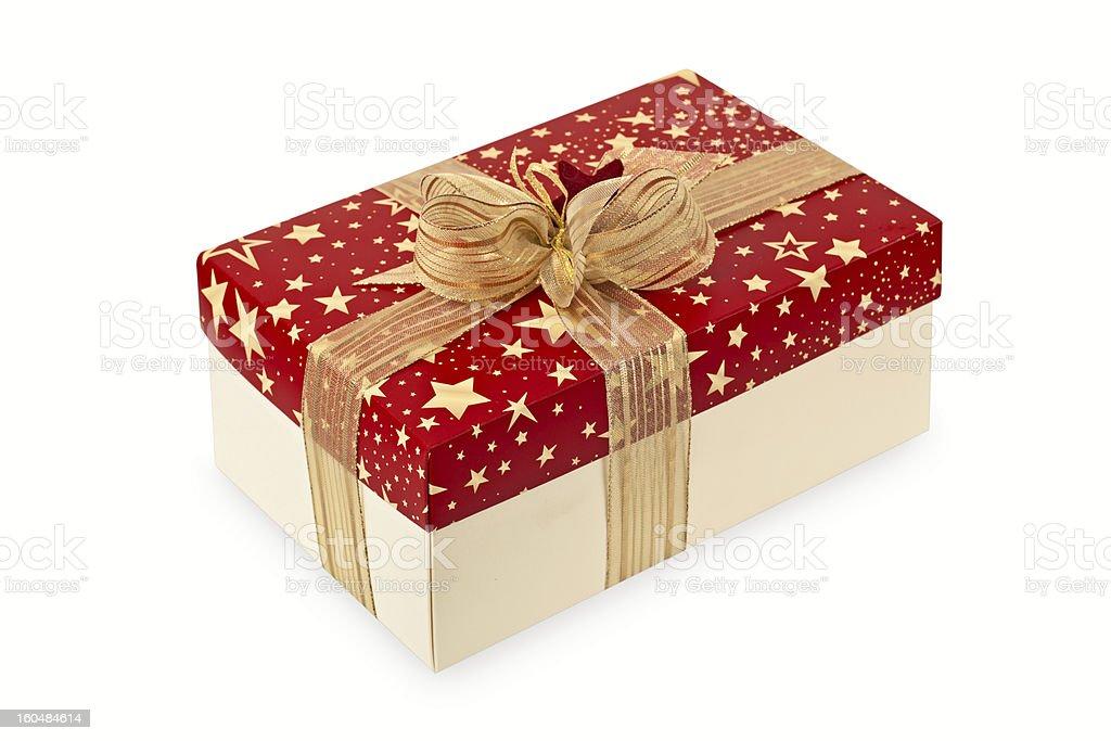 Festive box with golden ribbon royalty-free stock photo