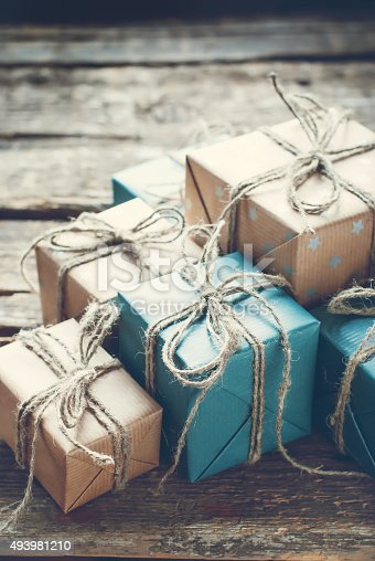 493890050 istock photo Festive Boxes in Brown Paper with Linen Cord 493981210