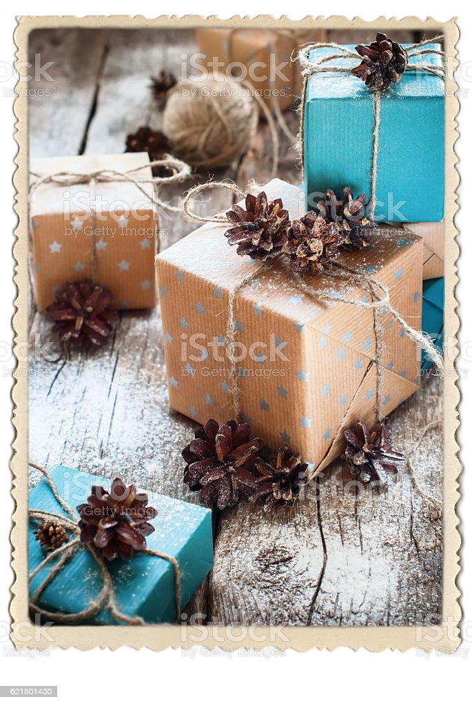 Festive Boxes Packed Brown Blue Paper Retro Frame foto stock royalty-free