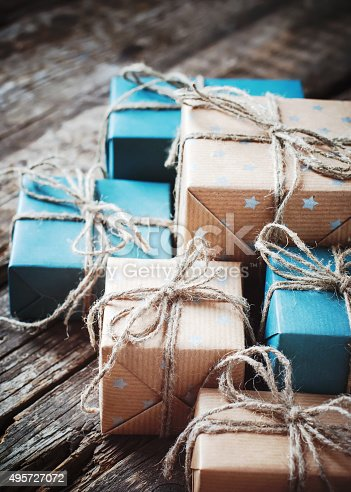 493890050 istock photo Festive Boxes with Linen Cord. Color Gifts 495727072