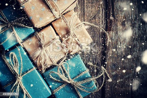 istock Festive Boxes with Linen Cord. Drawn Snowfall 493890050
