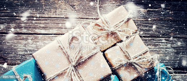493890050 istock photo Festive Boxes with Linen Cord. Format for Web Design 495786246