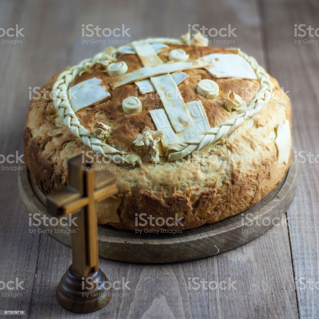 Festive bread  on the table stock photo