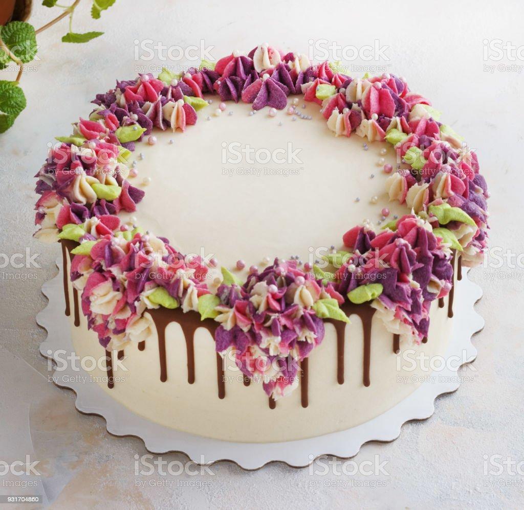 Festive Cake With Cream Flowers Hydrangea On A Light Background