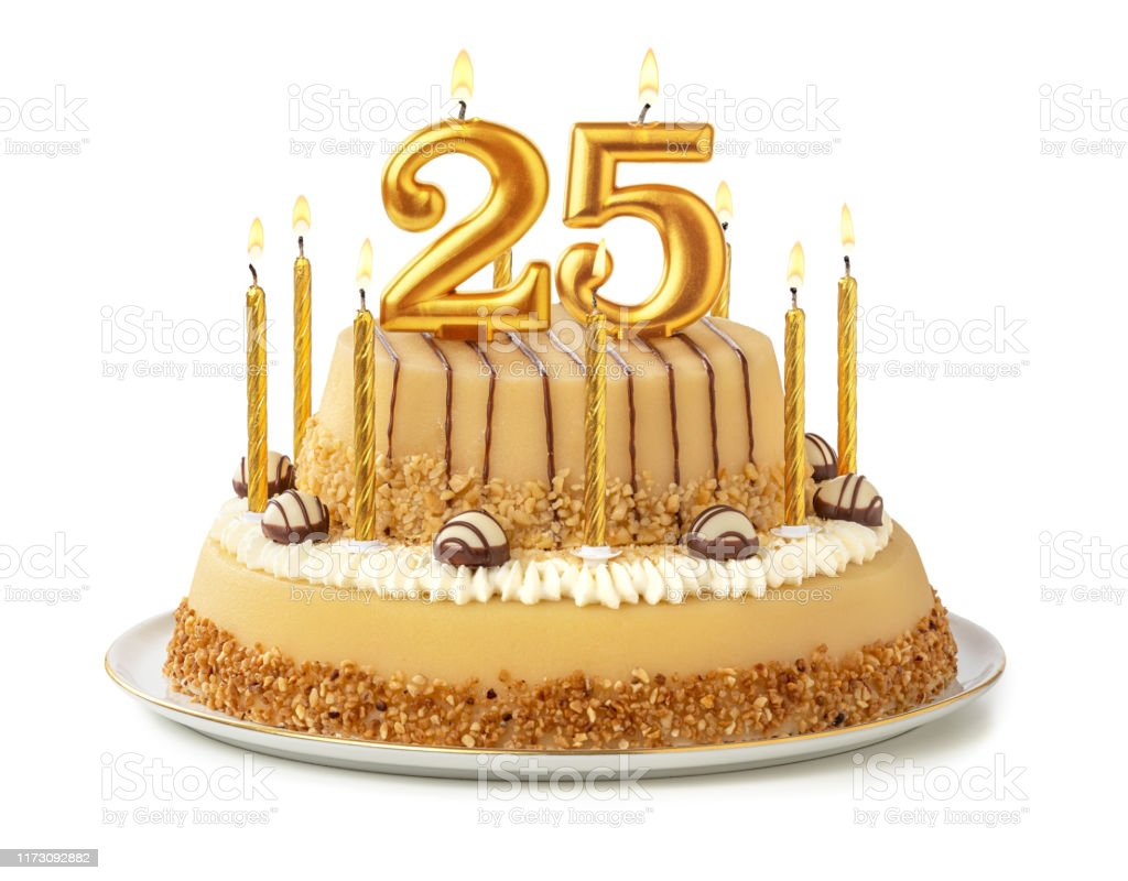 Magnificent Festive Cake With Golden Candles Number 25 Stock Photo Download Funny Birthday Cards Online Alyptdamsfinfo