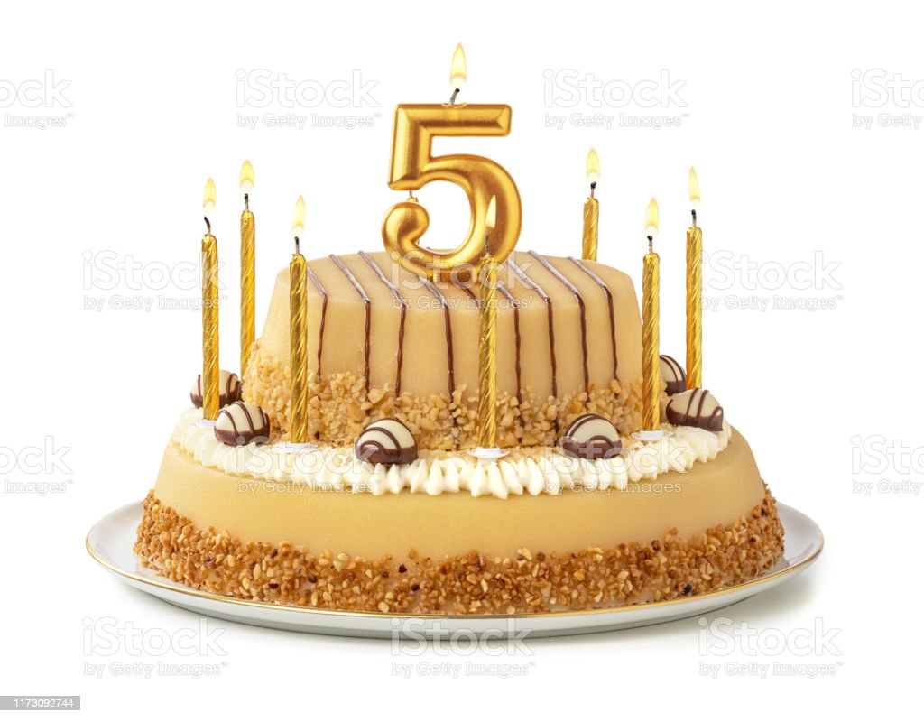 Astounding Festive Cake With Golden Candles Number 5 Stock Photo Download Birthday Cards Printable Giouspongecafe Filternl