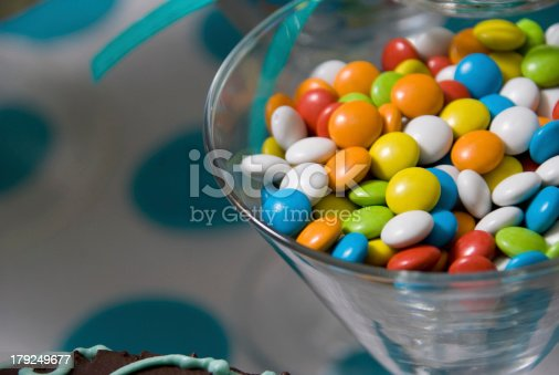 candies filled in a glass glass