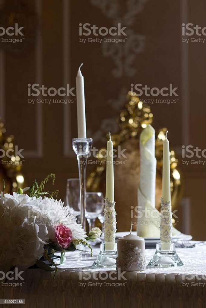 festive candles on the table stock photo