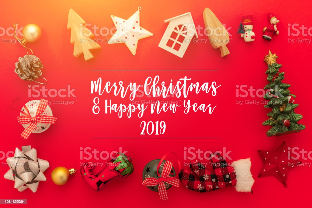 Festive Celebration Background Ideas Concept With Christmas Eve Holiday Decorating Items Red Color Floor With Free Copy Space Stock Photo Download Image Now Istock