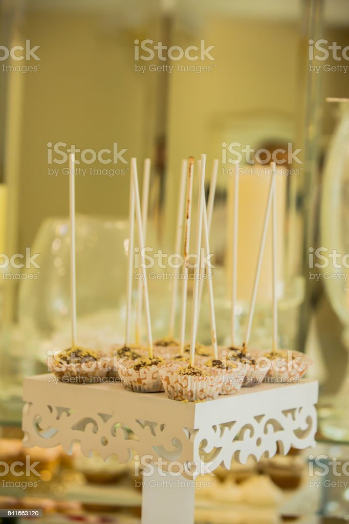 Festive Chocolate Cake Pops With Candy Sprinkles Closeup On The ...