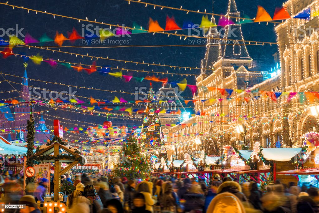 festive Christmas annual fair on Red Square in Moscow beautifully decorated, evening photography stock photo