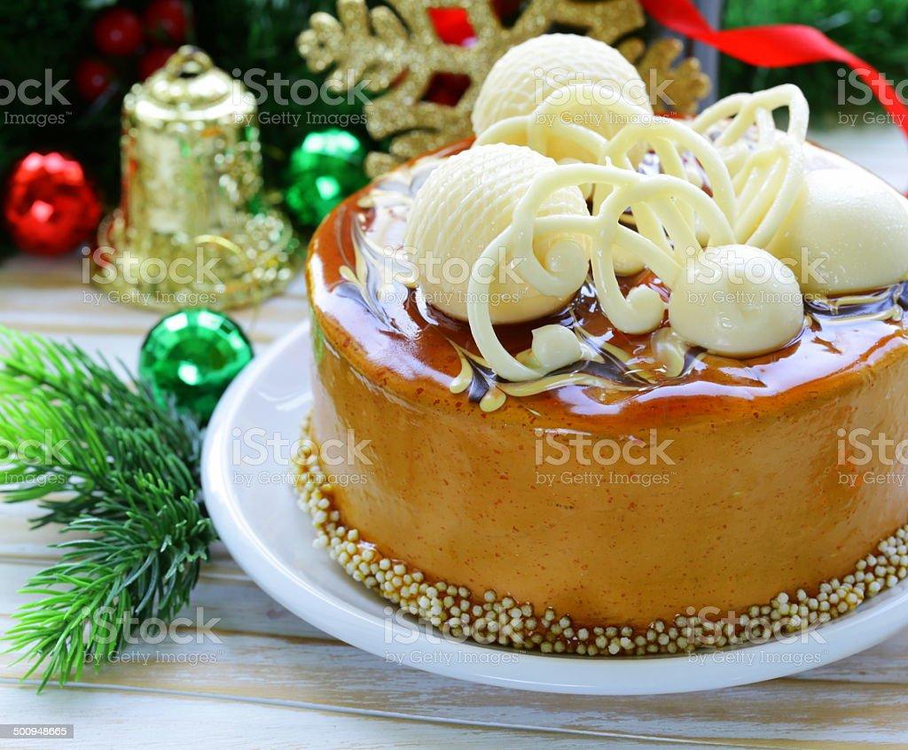 Gateau De Fete De Noel.Photo Libre De Droit De Gâteau De Fête De Noël Décoré Avec