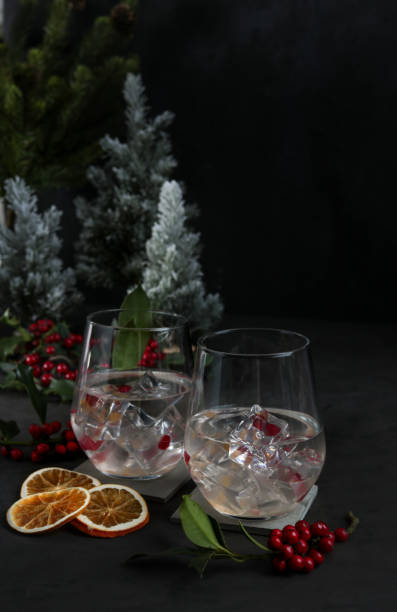 Festive Christmas Cocktail with Gin in dark moody look stock photo