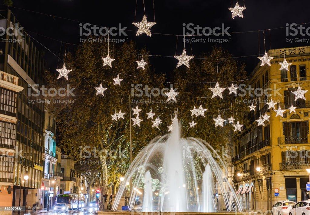Lumieres De Noel Festifs Dans La Ville De Palma De Majorque Espagne