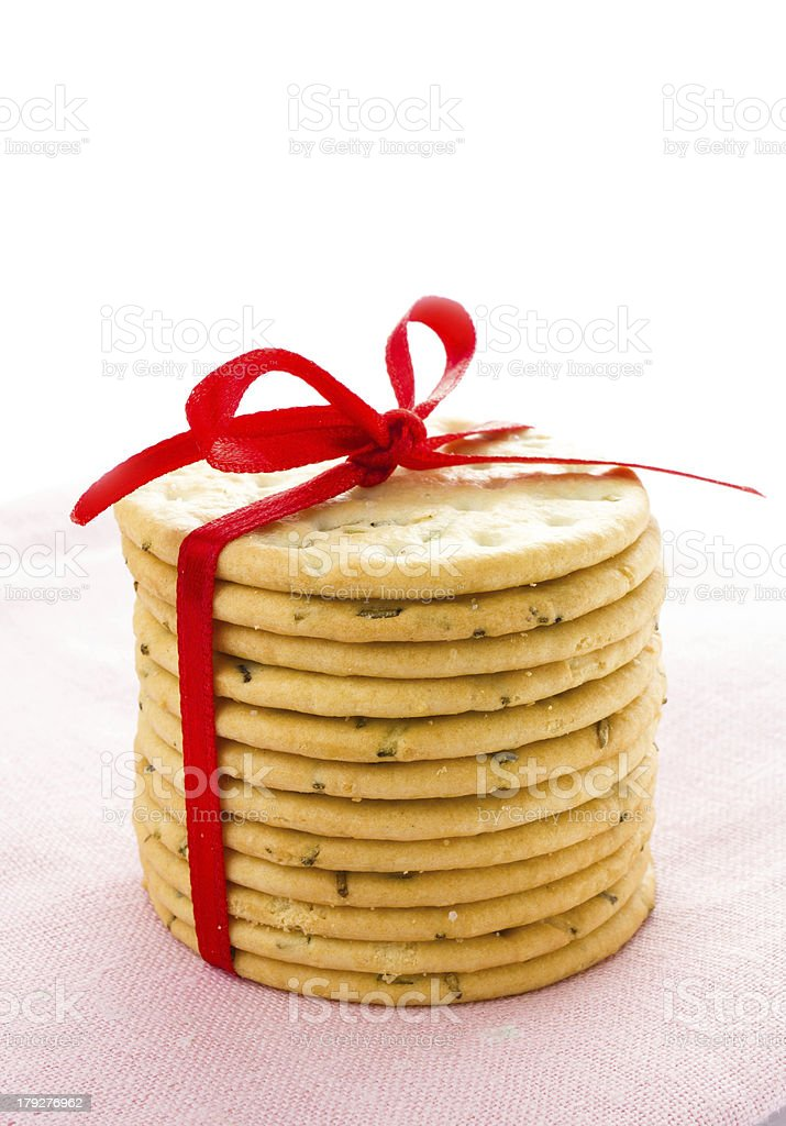 Festive Christmas shortbread  wrapped pastry cookies with red royalty-free stock photo
