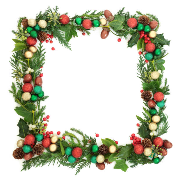 festive christmas wreath - alloro foto e immagini stock