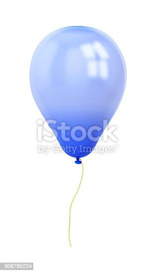815229514 istock photo festive dark blue balloon isolated on white 506785234