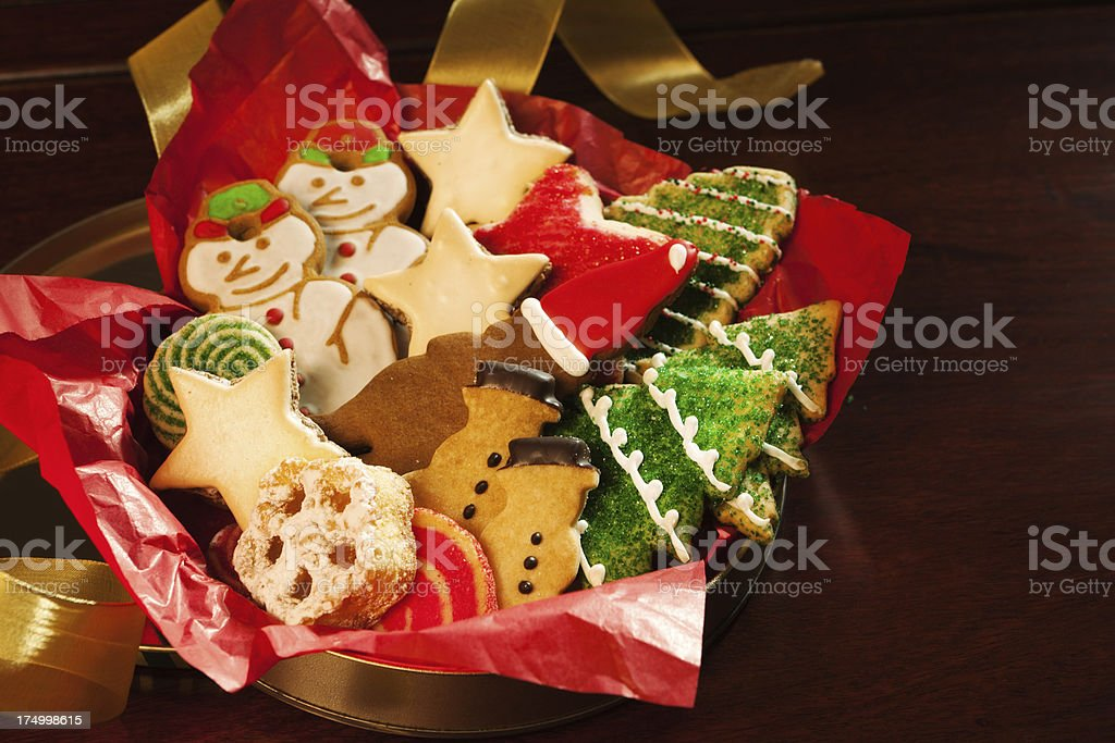 Festive Decorated Christmas Cookies In Tin Hz Stock Photo More