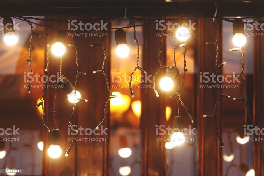 festive decoration of bright lights garlands