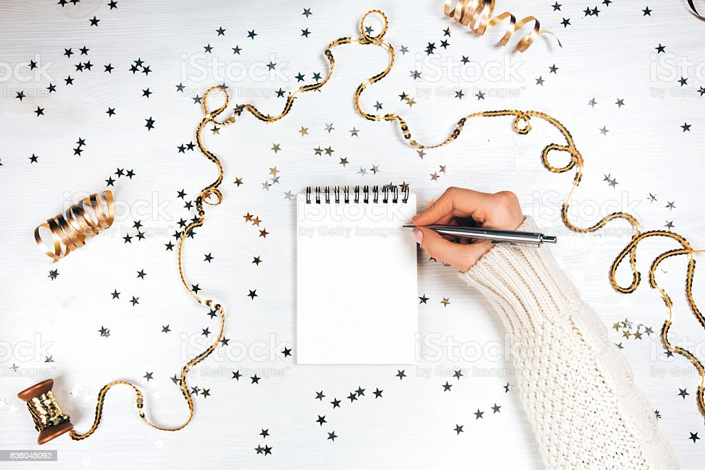 Festive decorations and notebook stock photo