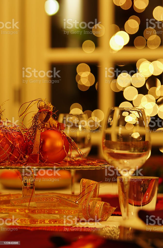 festive dinner table royalty-free stock photo