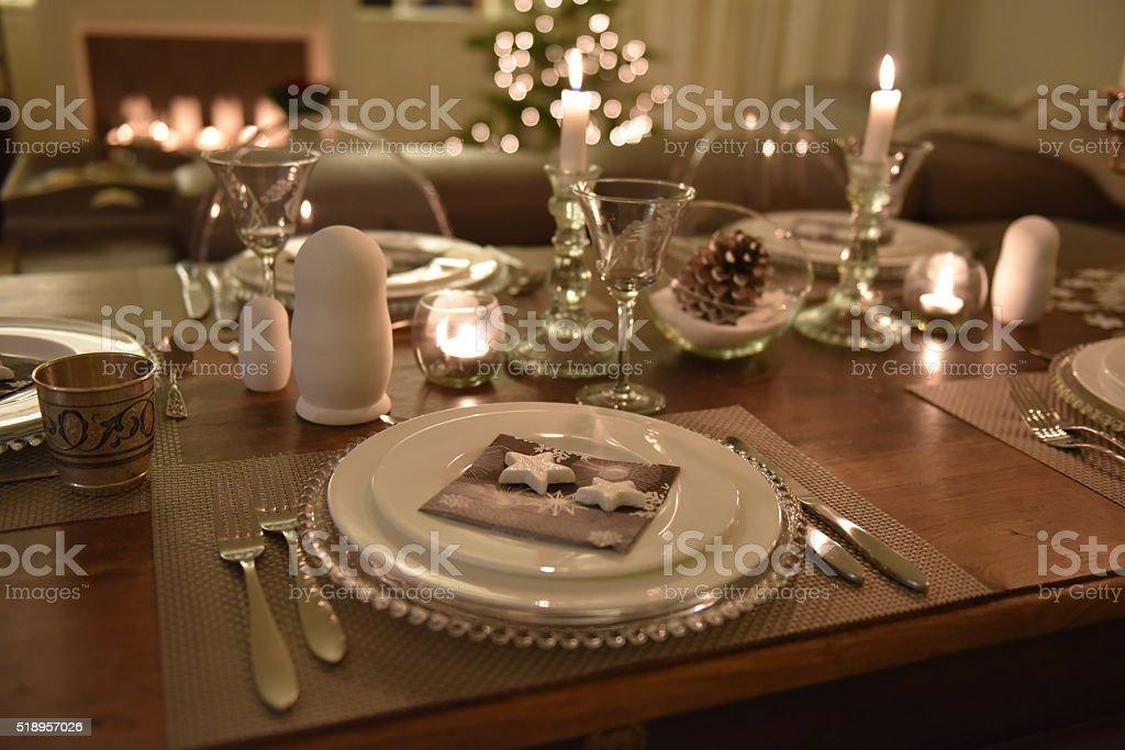 Genial Festive Dinner Table Setting For Christmas New Year Stock ...