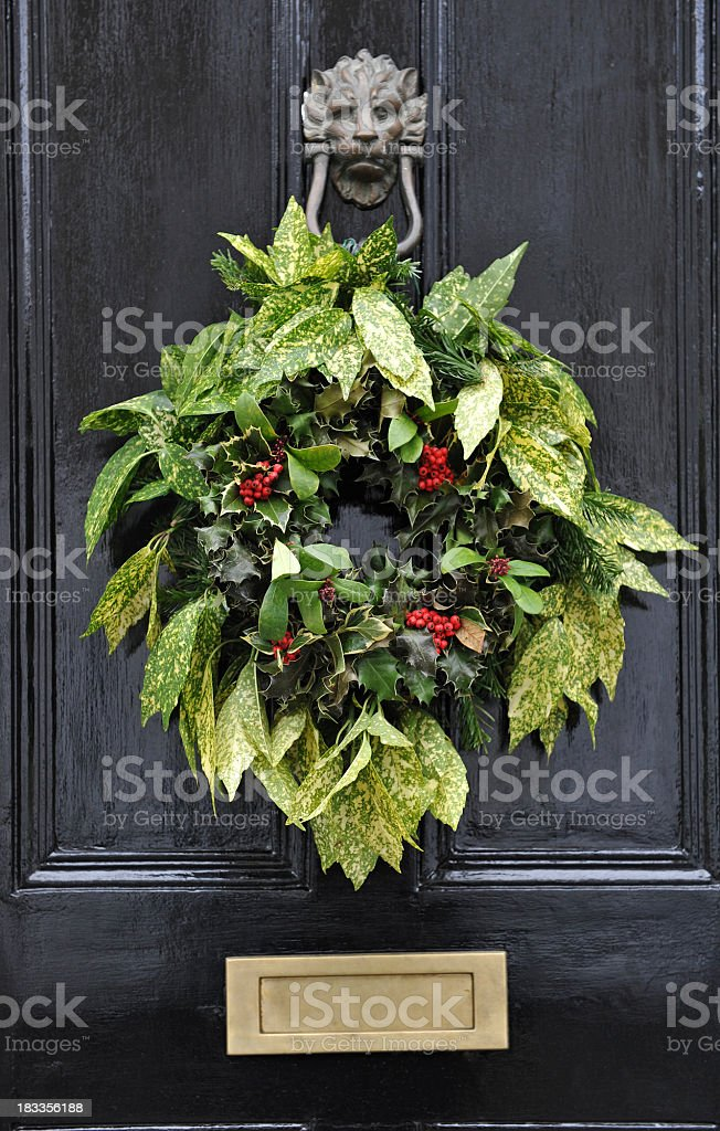 Festive door wreath stock photo