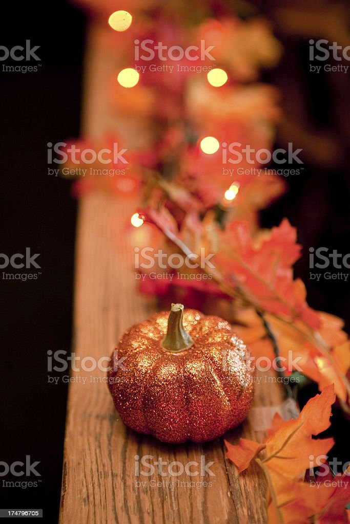 Festive Fall Decorations of Pumpkin, Autumn Leaves, and Lights royalty-free stock photo