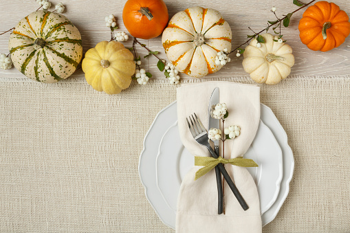 Festive fall table setting place setting home decorations with pumpkins
