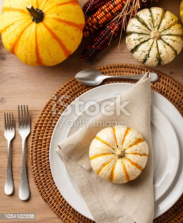 istock Festive Fall Thanksgiving table setting place setting home decorations with china plates dishes, silverware, linen cloth napkin, placemat, natural miniature pumpkins and ornamental squash on rustic wooden tabletop. holiday entertaining dinner parties. 1054102338