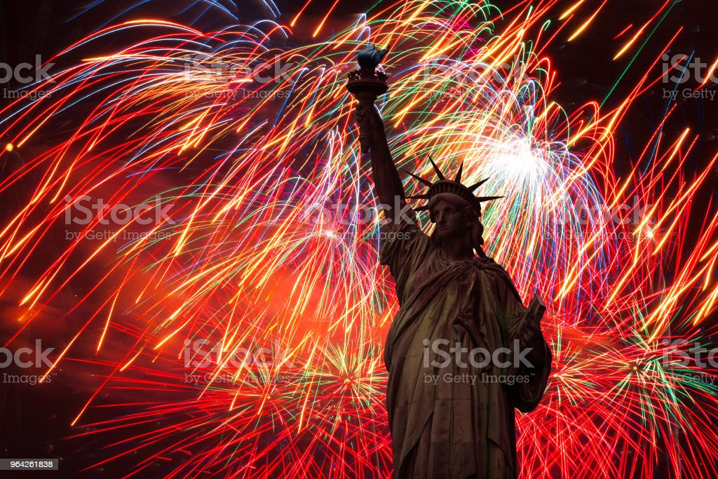 Festive fireworks for the statue of freedom. stock photo
