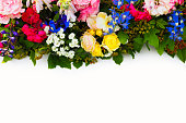 istock Festive flower composition on the white background. Overhead top view, flat lay. Copy space. Birthday, Mother's, Valentines, Women's, Wedding Day concept. Rose, delphinium, peony 1268489102