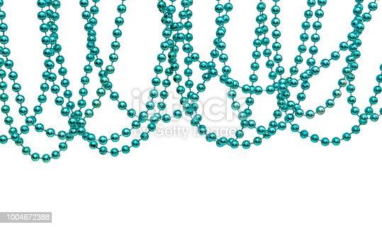 Festive garland isolated on white background. Hanging blue bead.
