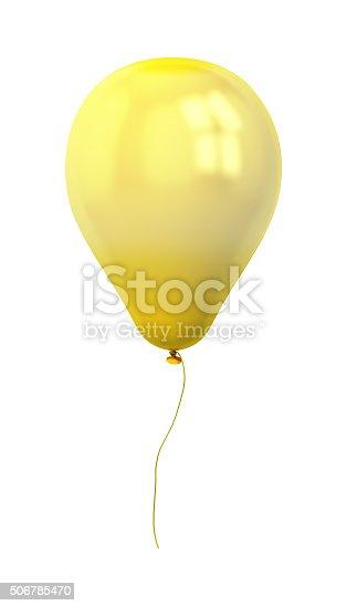815229514 istock photo festive gold balloon isolated on white 506785470