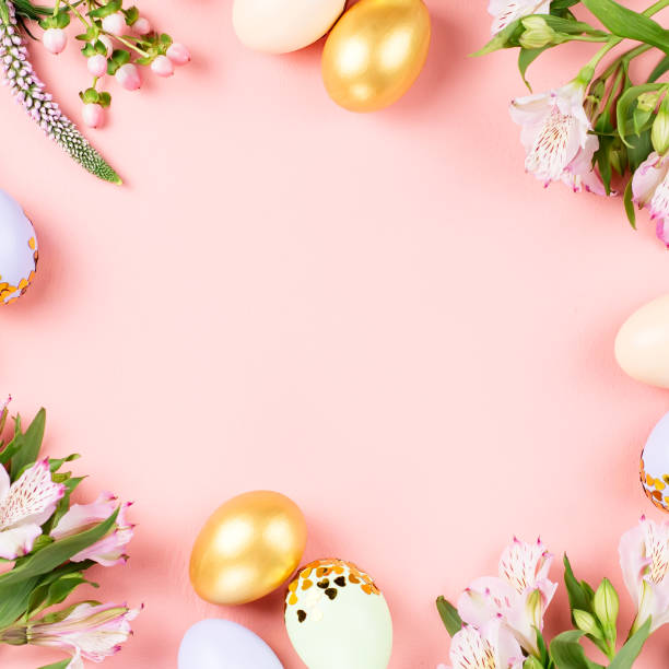 festive happy easter background with decorated eggs, flowers, candy and ribbons in pastel colors on pink. copy space - easter imagens e fotografias de stock