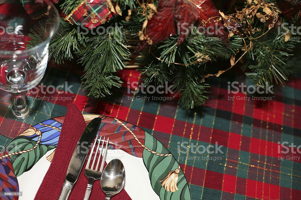 Festive Holiday Table Setting royalty-free stock photo