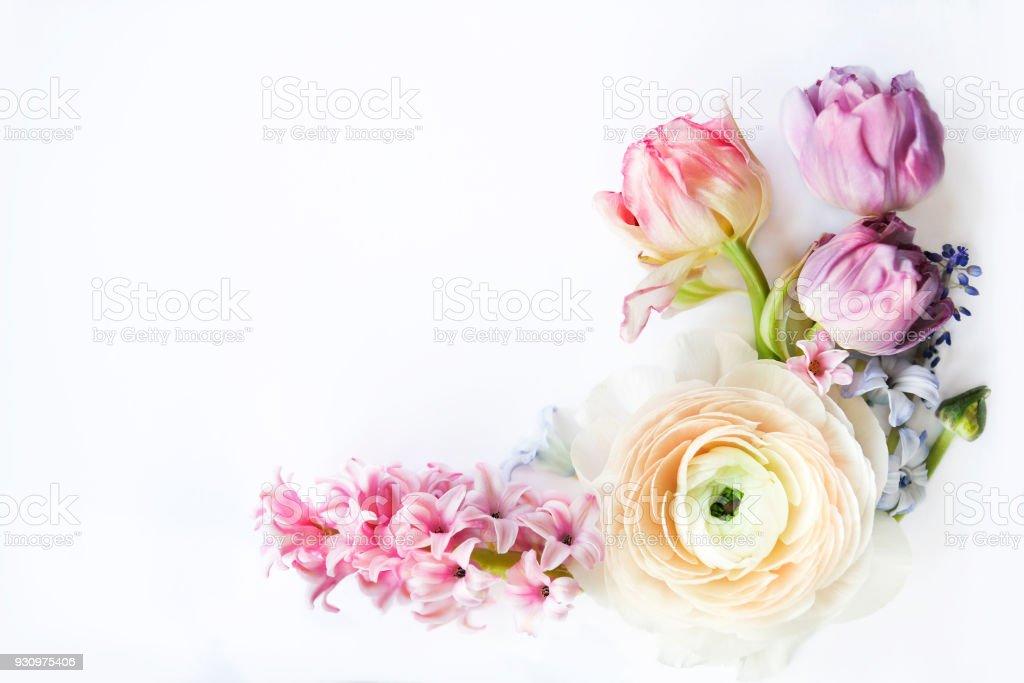 Festive invitation card with beautiful flowers stock photo
