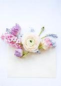 istock Festive invitation card with beautiful flowers 930978134