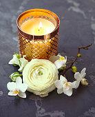 istock Festive invitation card with beautiful flowers 930984906